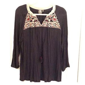 Anthro One September Embroidered Peasant top